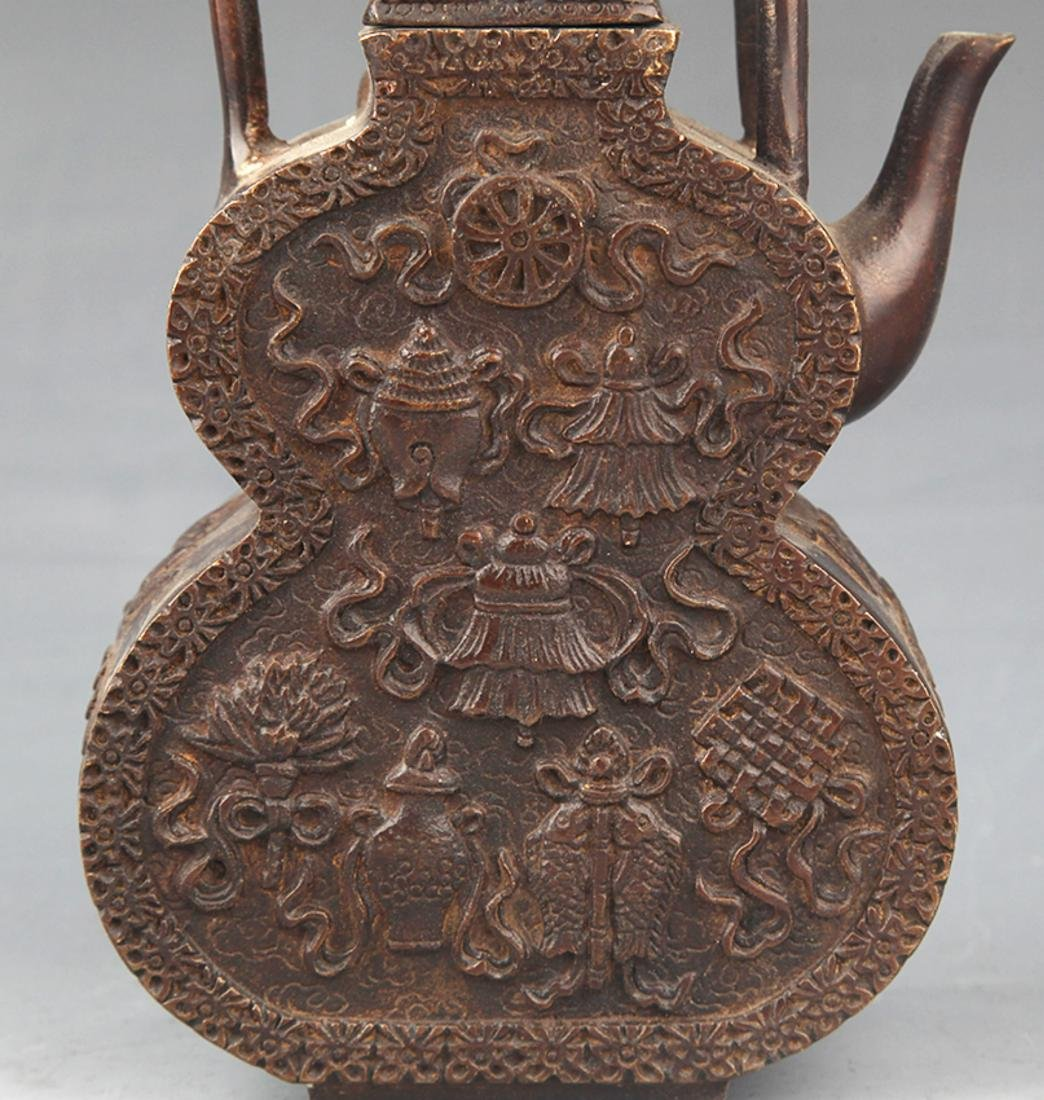 A FINELY CARVED CUCURBIT SHAPED WATER POT - 2