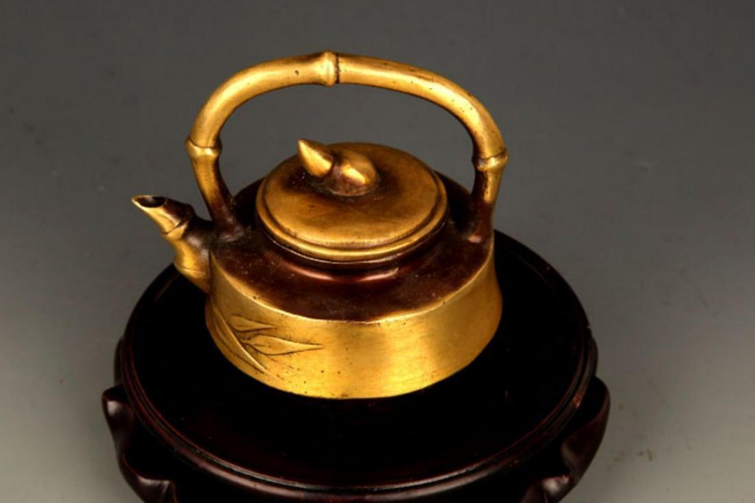 A BRONZE BAMBOO FIGURE BRONZE TEA POT - 2