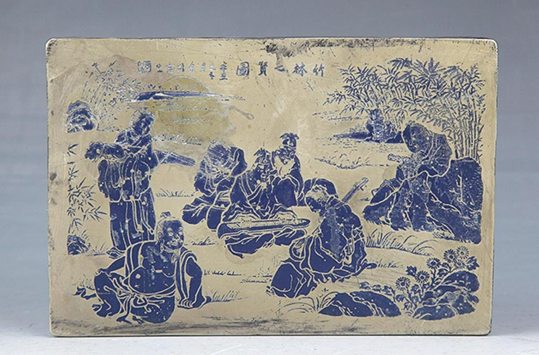 A BLUE COLOR STORY CARVING BRONZE INK BOX
