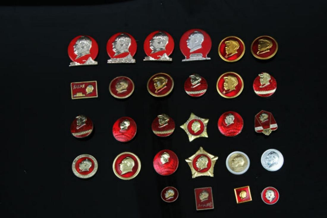GROUP OF 28 OLD  CHAIRMAN MAO BADGE