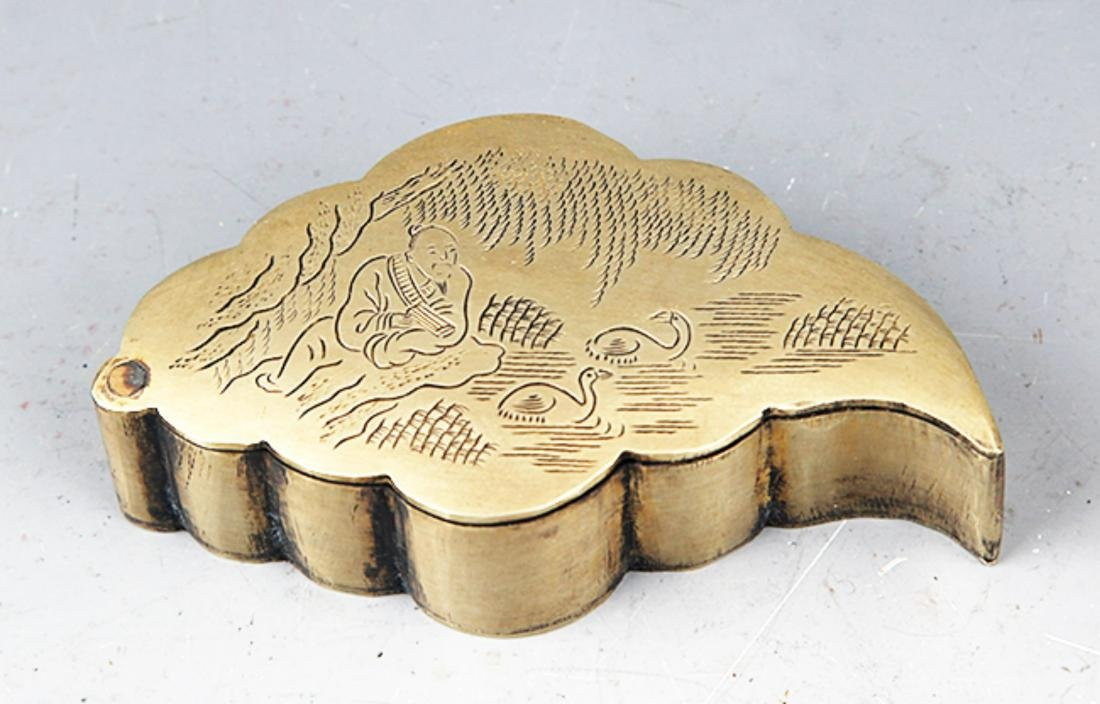 A FINELY CARVED BRONZE LEAF SHAPED INK BOX