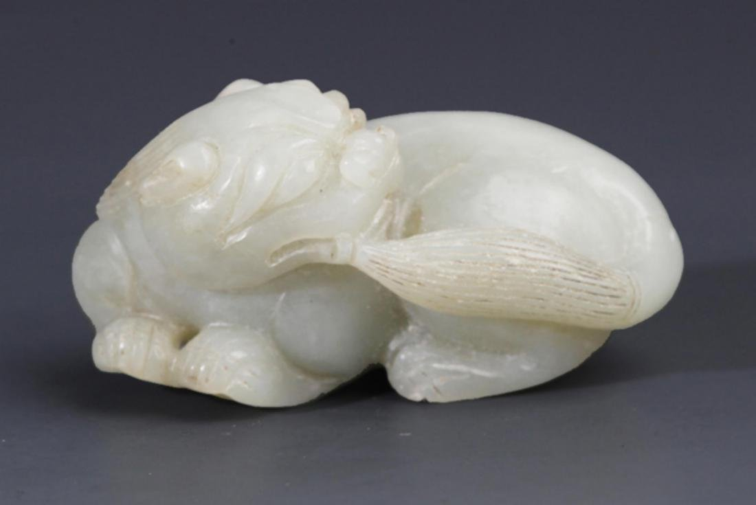 A FINELY RUI SHOU SHAPE GREENISH WHITE JADE DECORATION