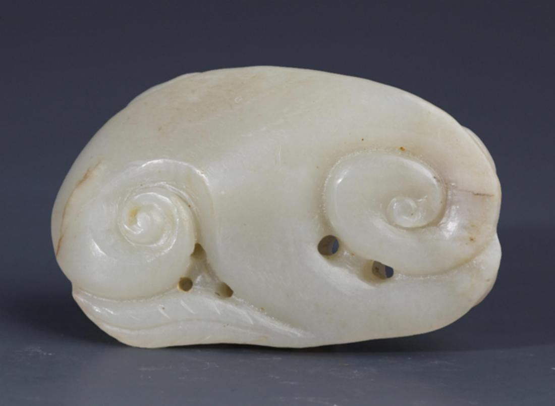A FINELY DRAGON CARVING PALE CELADON JADE PENDANT - 2