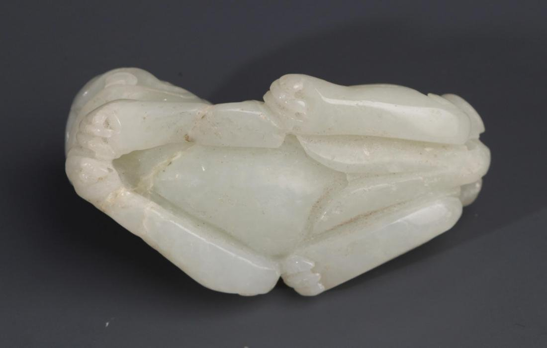 "A FINELY CARVED WHITE JADE ""RUI SHOU"" PENDANT - 4"
