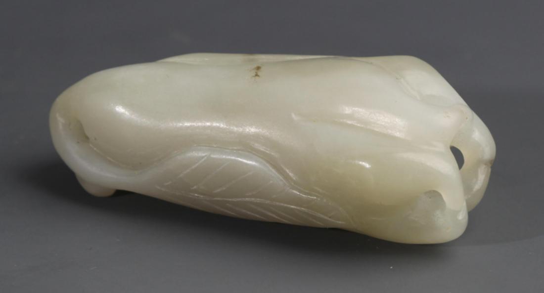 A BUDDHA HAND SHAPED WHITE JADE PENDANT - 2
