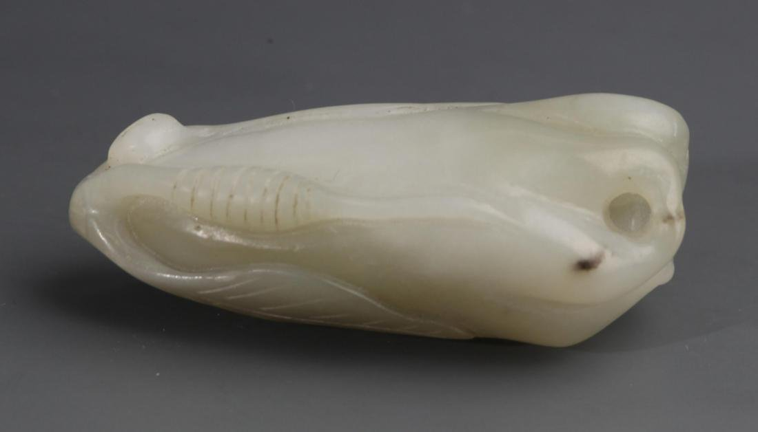 A BUDDHA HAND SHAPED WHITE JADE PENDANT - 3