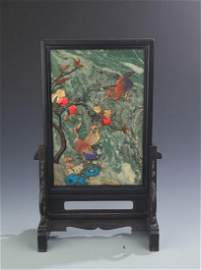 A RARE BLACK HARDWOOD AND STONE TABLE PLAQUE