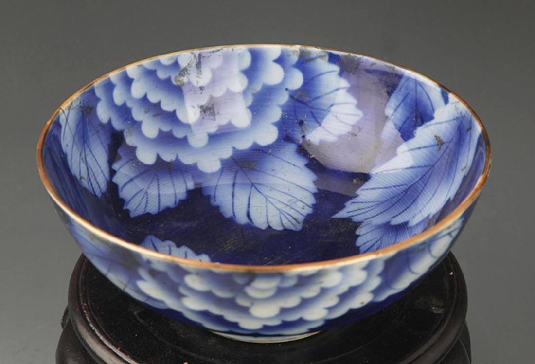 A BLUE COLOR FLOWER PATTERN PORCELAIN BOWL - 2