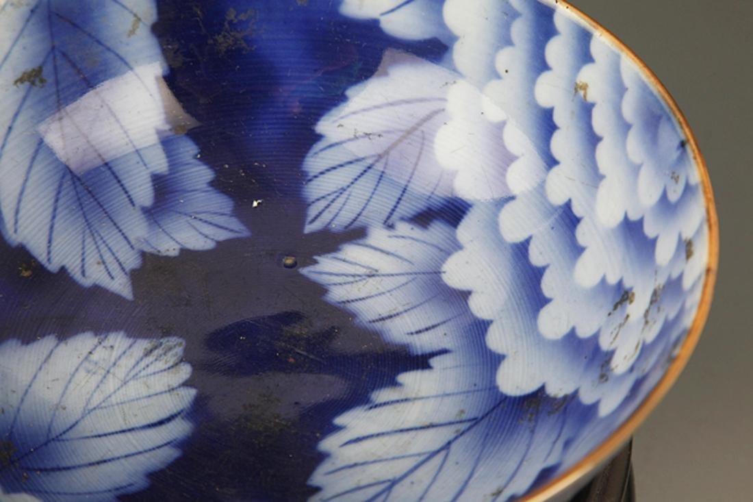 A BLUE COLOR FLOWER PATTERN PORCELAIN BOWL - 3
