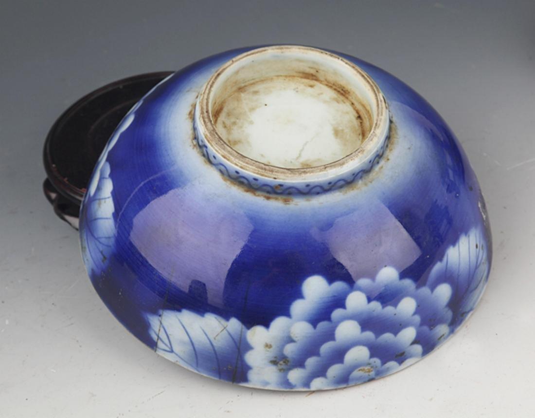 A BLUE COLOR FLOWER PATTERN PORCELAIN BOWL - 4