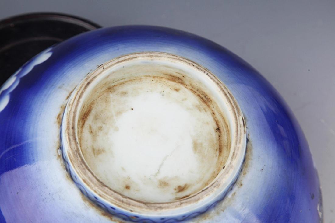 A BLUE COLOR FLOWER PATTERN PORCELAIN BOWL - 5