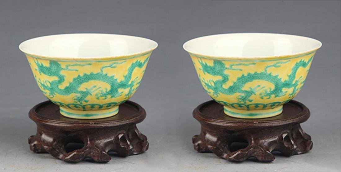 A PAIR OF DRAGON PAINTED PORCELAIN CUP