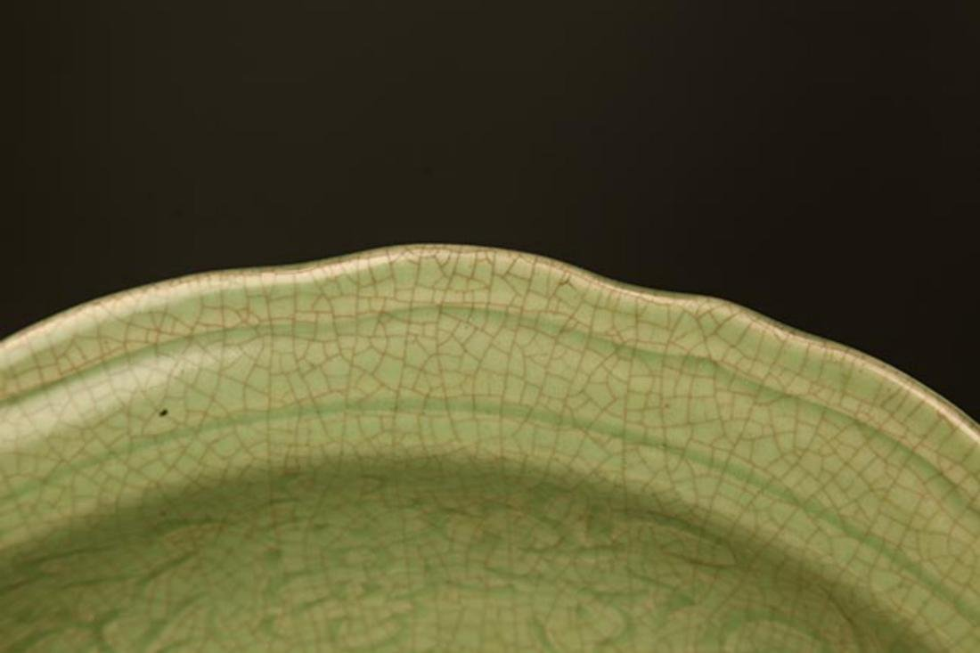 A LARGE DARK GREEN COLOR LOTUS CARVING PLATE - 2
