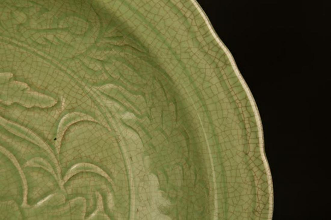 A LARGE DARK GREEN COLOR LOTUS CARVING PLATE - 4