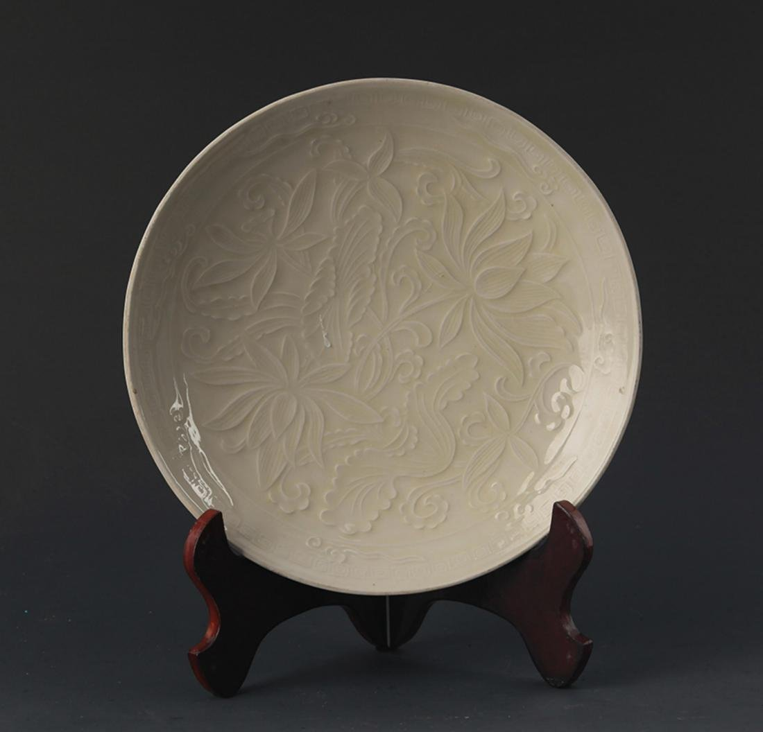 A QING YAO FLOWER CARVING PORCELAIN PLATE