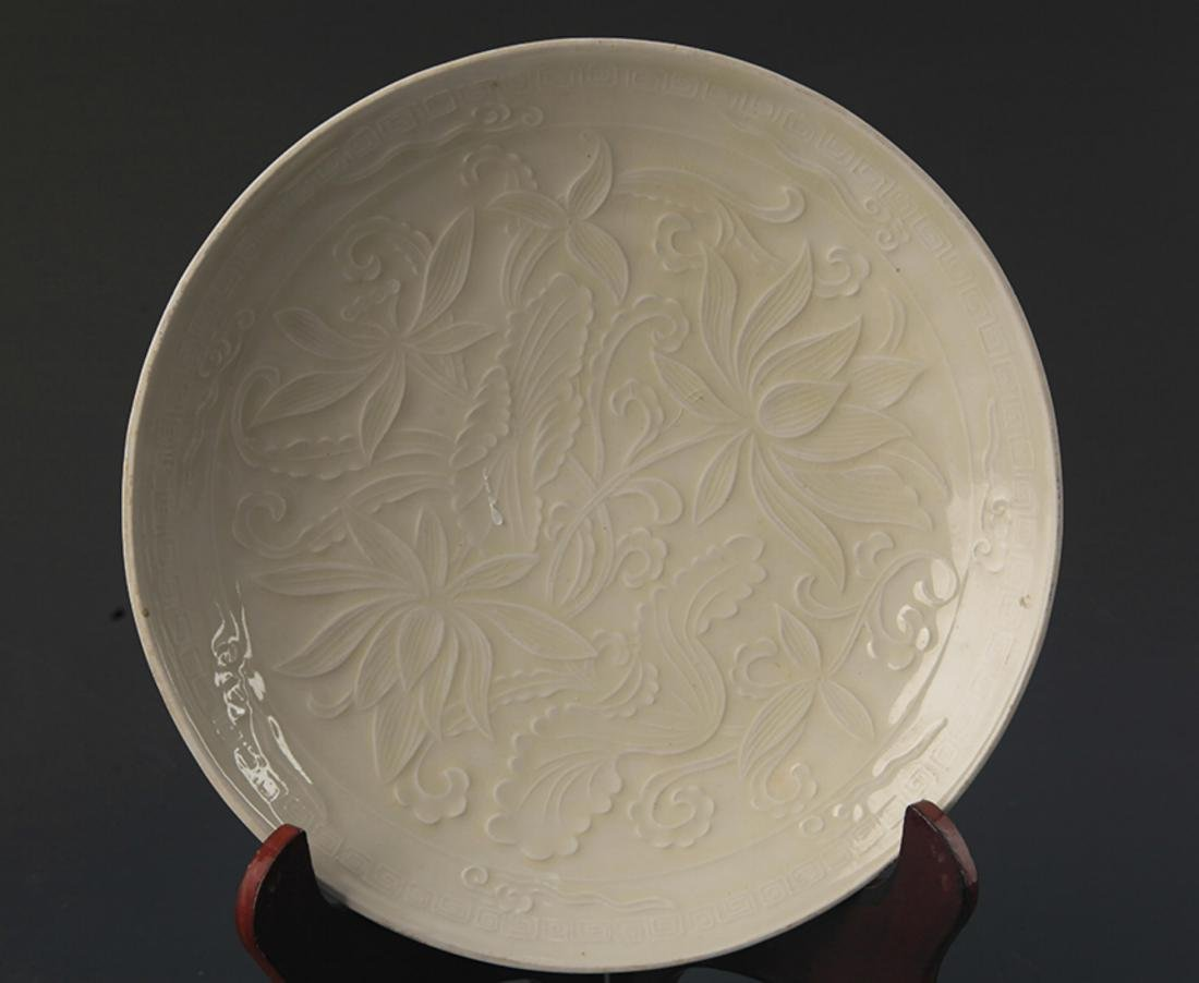 A QING YAO FLOWER CARVING PORCELAIN PLATE - 2