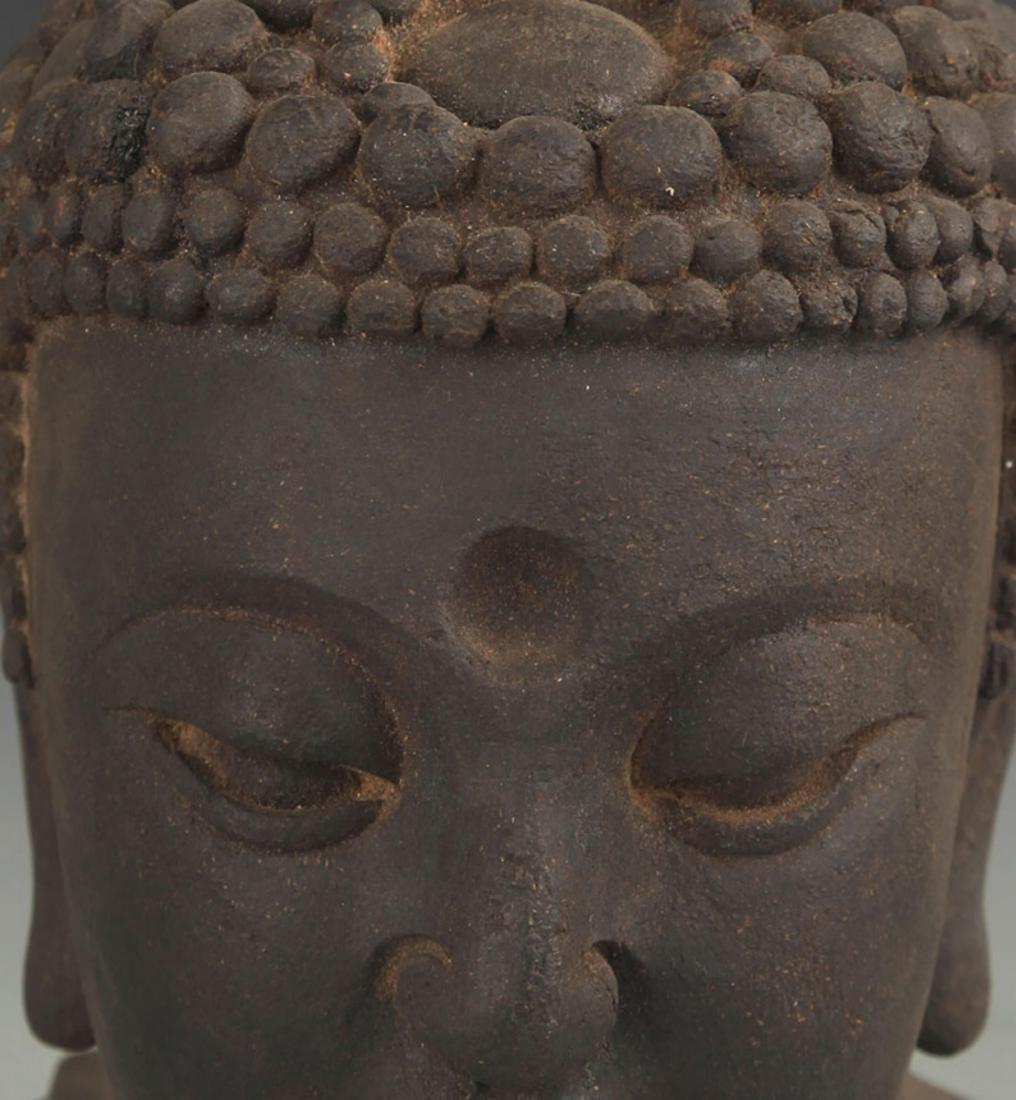A FINE AGARWOOD BUDDHA HEAD - 2