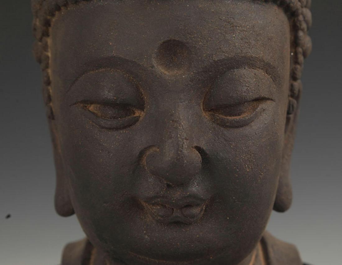A FINE AGARWOOD BUDDHA HEAD - 4
