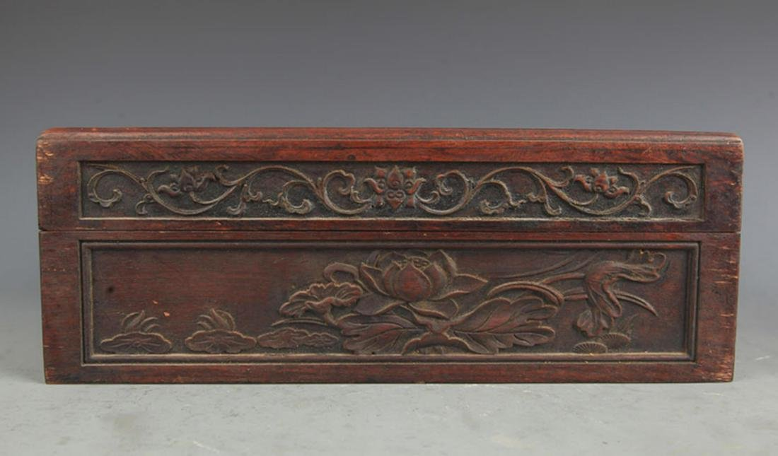A FINELY CARVED HUA LI MU FISHING CARVING WOODEN BOX