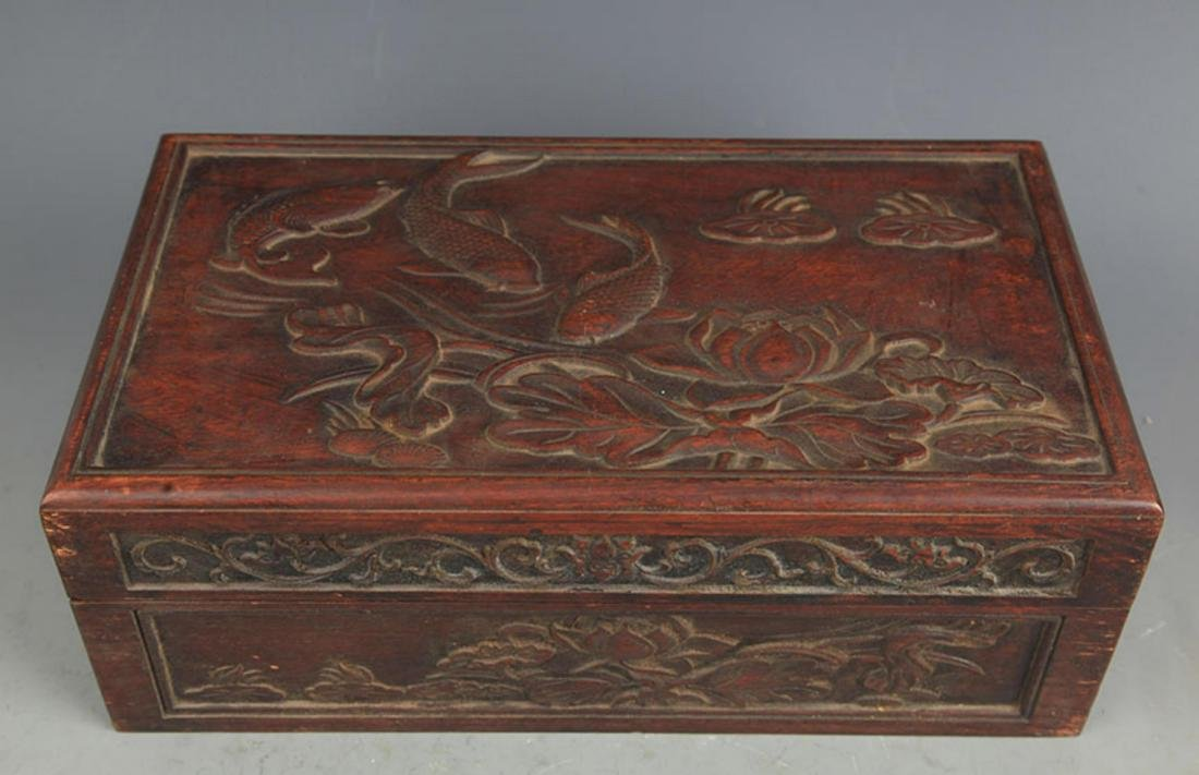 A FINELY CARVED HUA LI MU FISHING CARVING WOODEN BOX - 2