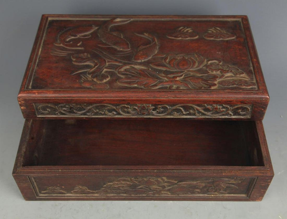 A FINELY CARVED HUA LI MU FISHING CARVING WOODEN BOX - 3
