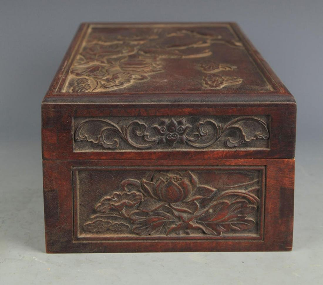 A FINELY CARVED HUA LI MU FISHING CARVING WOODEN BOX - 4