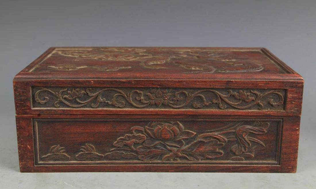 A FINELY CARVED HUA LI MU FISHING CARVING WOODEN BOX - 5