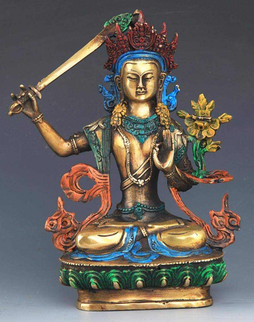 A ENAMEL COLOR GILT-BRONZE MANJUSHRI BUDDHA