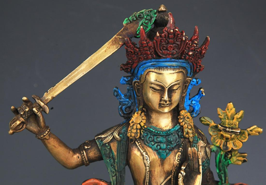 A ENAMEL COLOR GILT-BRONZE MANJUSHRI BUDDHA - 2