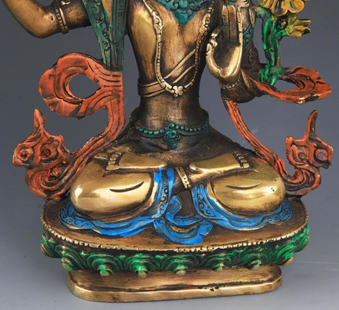 A ENAMEL COLOR GILT-BRONZE MANJUSHRI BUDDHA - 3