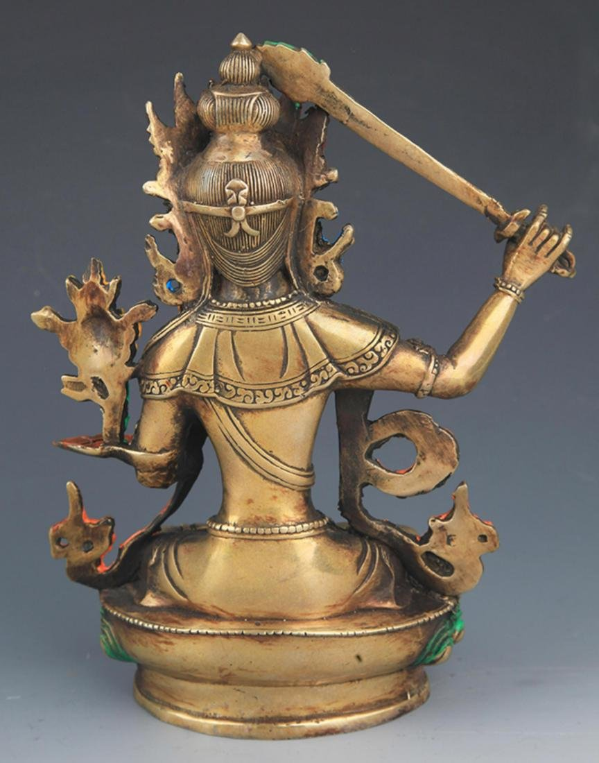 A ENAMEL COLOR GILT-BRONZE MANJUSHRI BUDDHA - 4