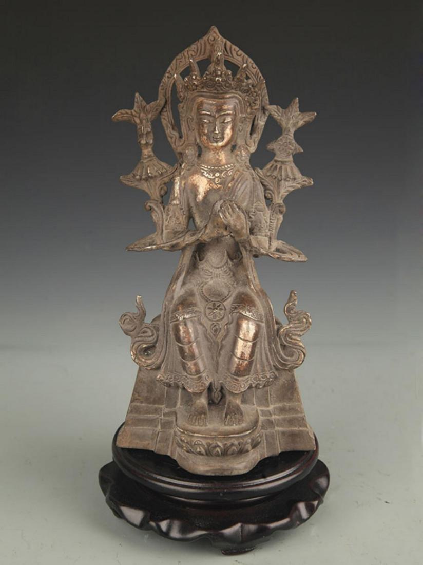 A SILVER COVER MAITREYA BUDDHA STATUE
