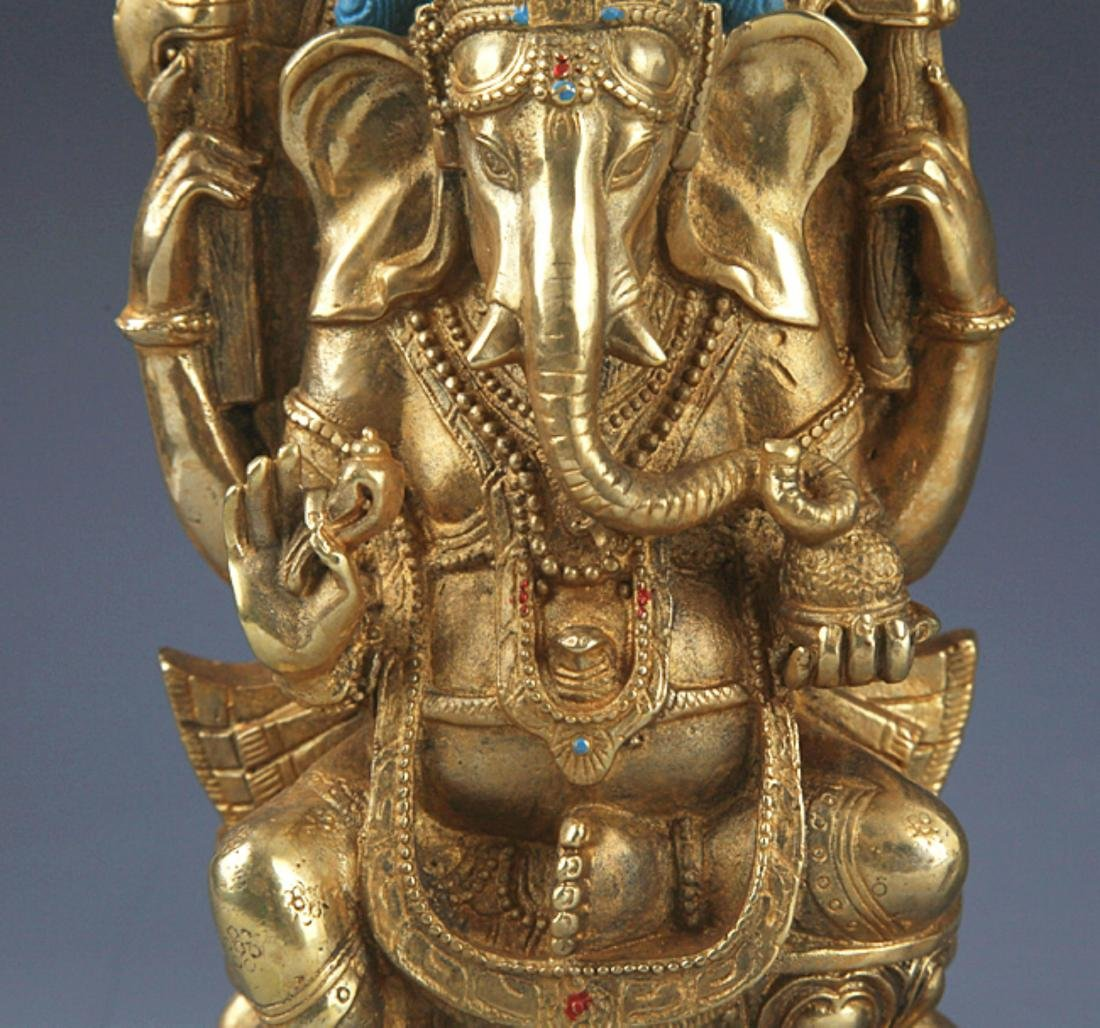 A FINELY BRONZE MODEL OF THE TRUNK GOD OF WEALTH - 3
