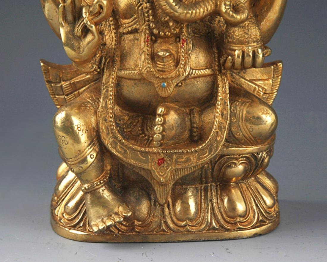 A FINELY BRONZE MODEL OF THE TRUNK GOD OF WEALTH - 4