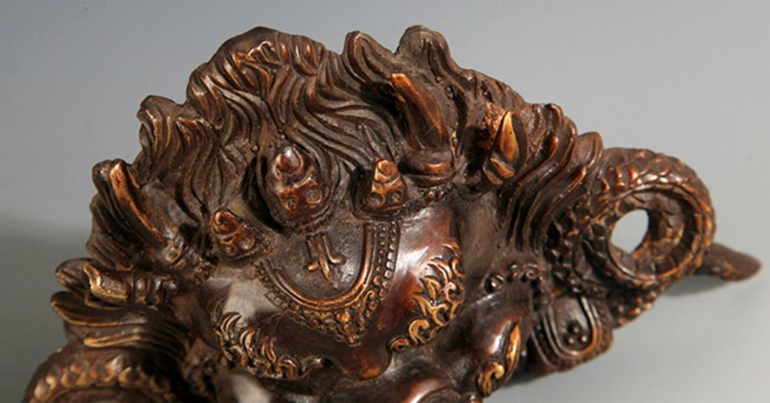 PAIR OF FINELY CARVED BRONZE DOOR BOLT - 5