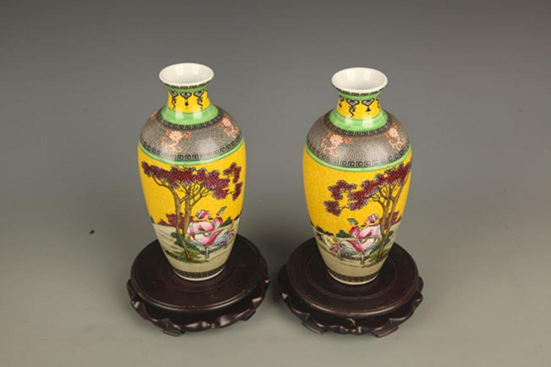 PAIR OF YELLOW GROUND STORY PAINTED PORCELAIN VASE - 2