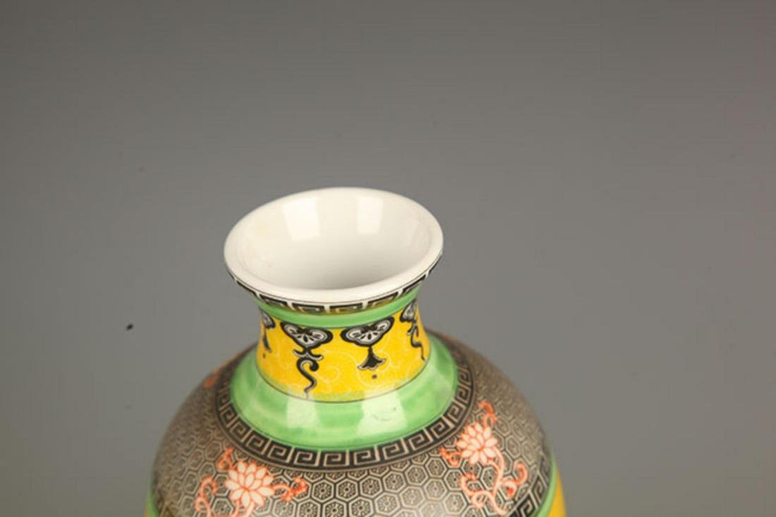 PAIR OF YELLOW GROUND STORY PAINTED PORCELAIN VASE - 4
