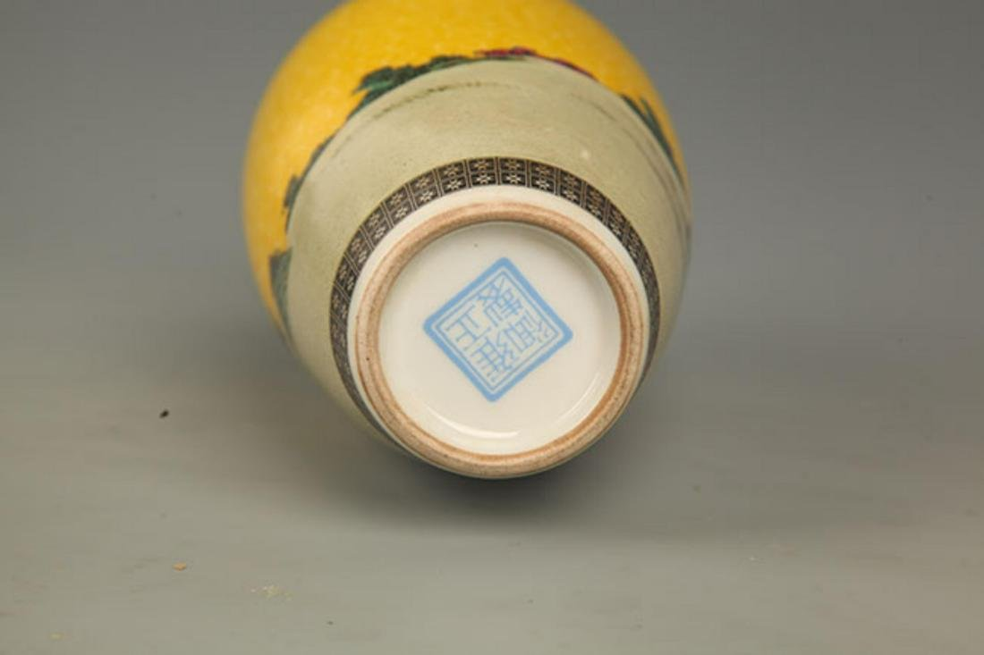 PAIR OF YELLOW GROUND STORY PAINTED PORCELAIN VASE - 7