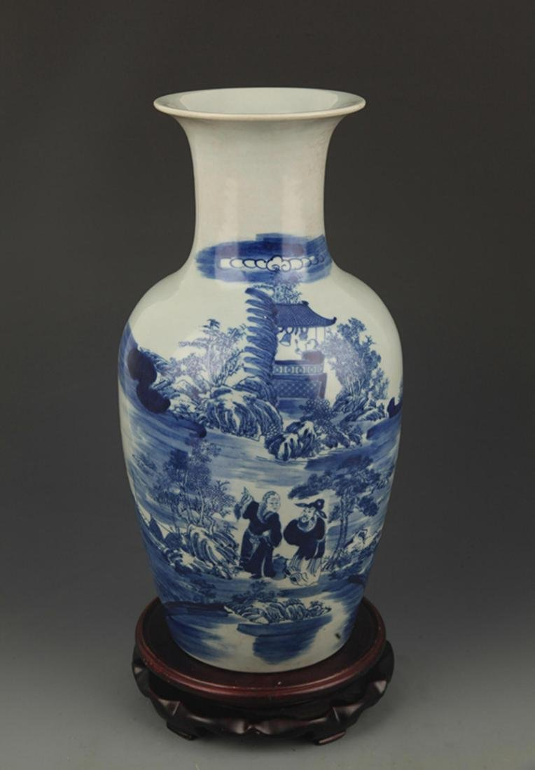 A BLUE AND WHITE STORY PAINTED VASE
