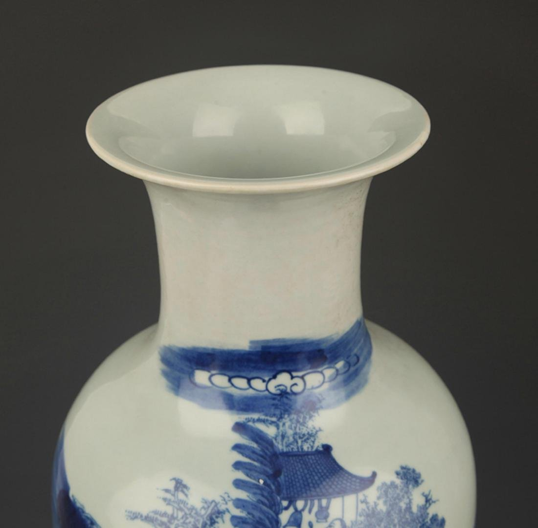 A BLUE AND WHITE STORY PAINTED VASE - 2