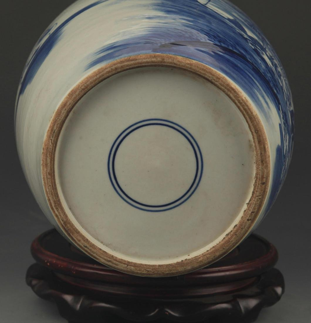 A BLUE AND WHITE STORY PAINTED VASE - 5
