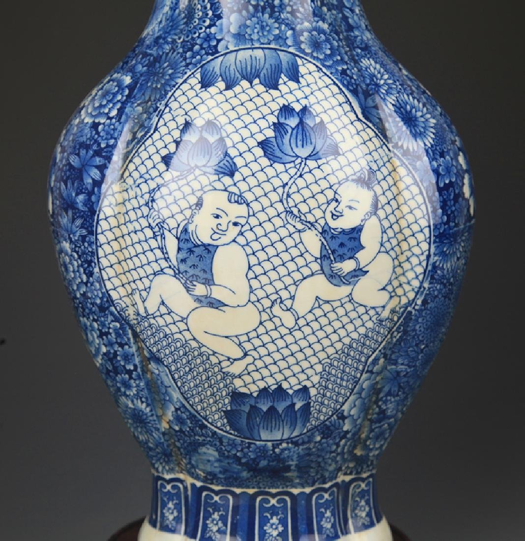 BLUE AND WHITE BOY PLAYING PATTERN PORCELAIN VASE - 3