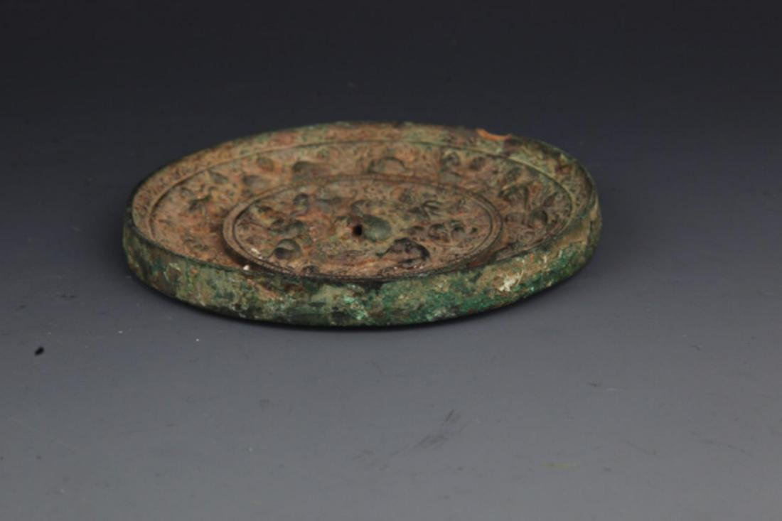 A FINE ANIMAL CARVING ROUND BRONZE MIRROR - 3