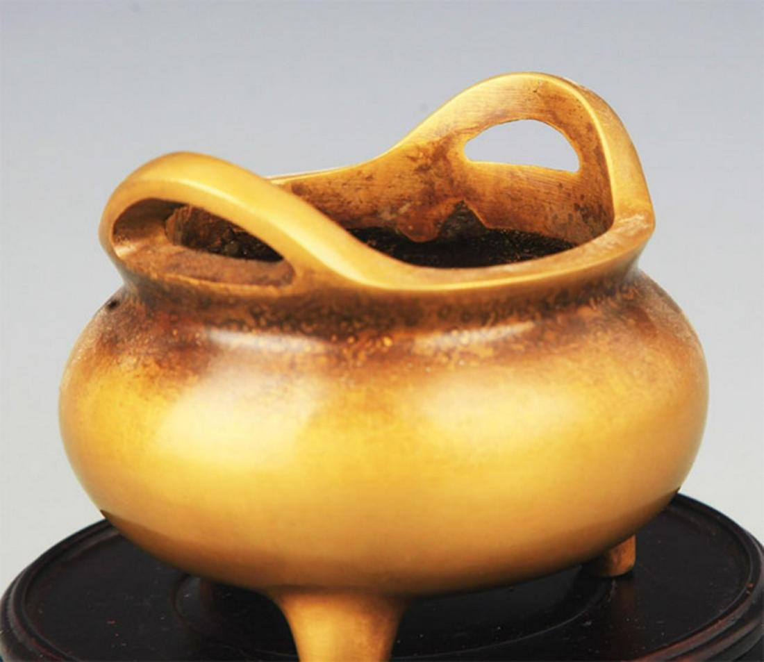 A TRIPOD FOOT DOUBLE EAR BRONZE CENSER - 3