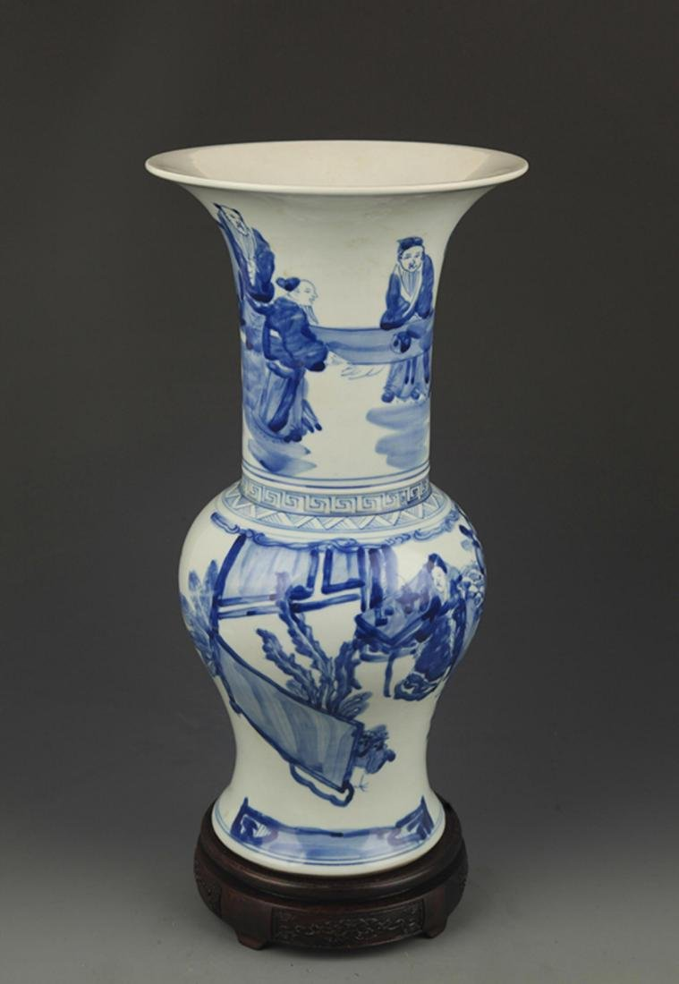 A BLUE AND WHITE STORY PAINTED PHOENIX STYLE VASE
