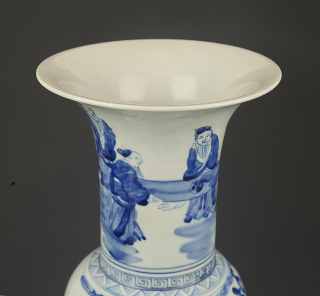 A BLUE AND WHITE STORY PAINTED PHOENIX STYLE VASE - 2