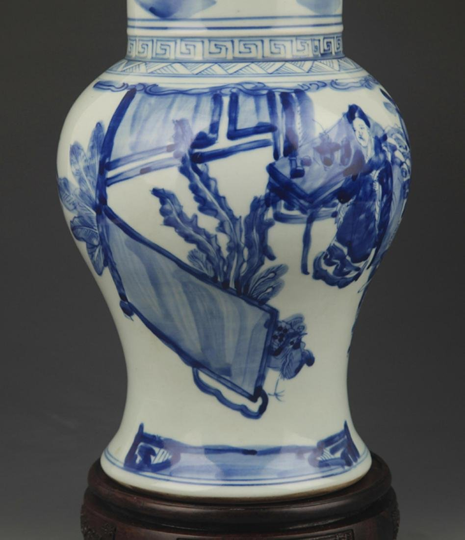 A BLUE AND WHITE STORY PAINTED PHOENIX STYLE VASE - 3