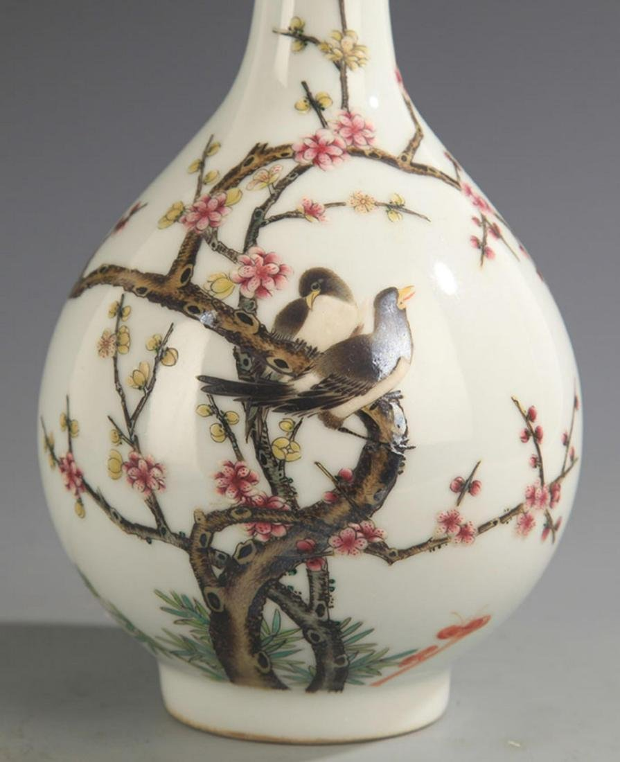 A FAMILLE-ROSE MAGPIE ON PLUM TREE PORCELAIN BOTTLE - 4