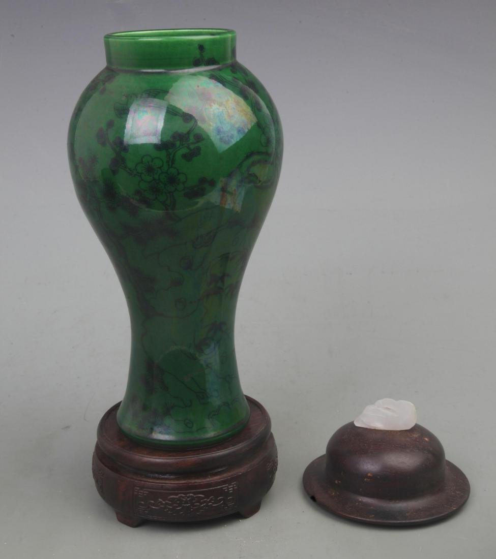 A RARE GROUND FLOWER PATTERN REDWOOD LID AND WHITE JADE - 2