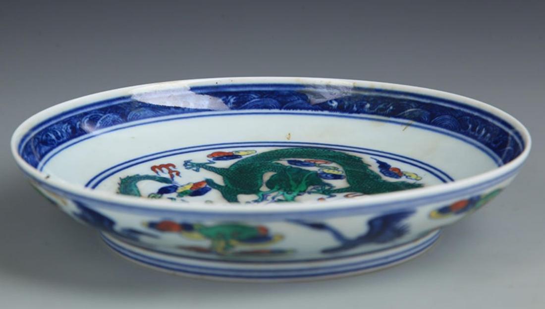 A DOU CAI BLUE AND WHITE PORCELAIN PLATE - 3